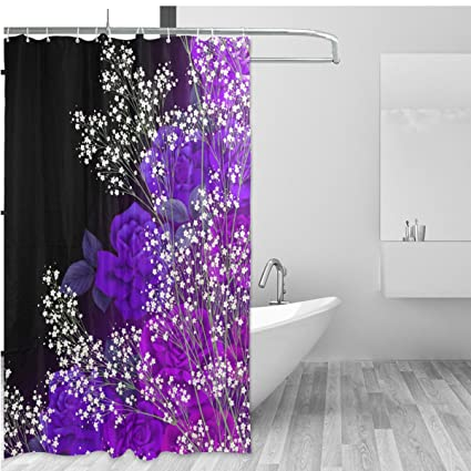 ALAZA Vintage Floral Home Decor Shower Curtain Set By Japanese Style Rose Lavender Flower