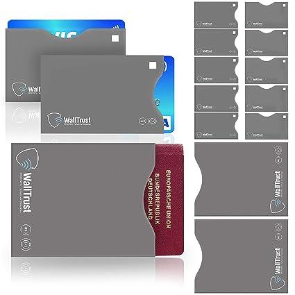 WallTrust® protectoras de tarjetas RFID NFC | Protección * Aprobado TÜV Alemán * | 12 Fundas para Tarjeta de Crédito Débito Identificación y Pasaporte