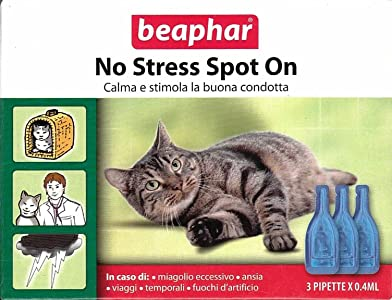 Beaphar Gatto No Stress Spot On 3 PIP da 0,4 ml - Ideale per le vacanze - 100% Naturale a base di Valeriana