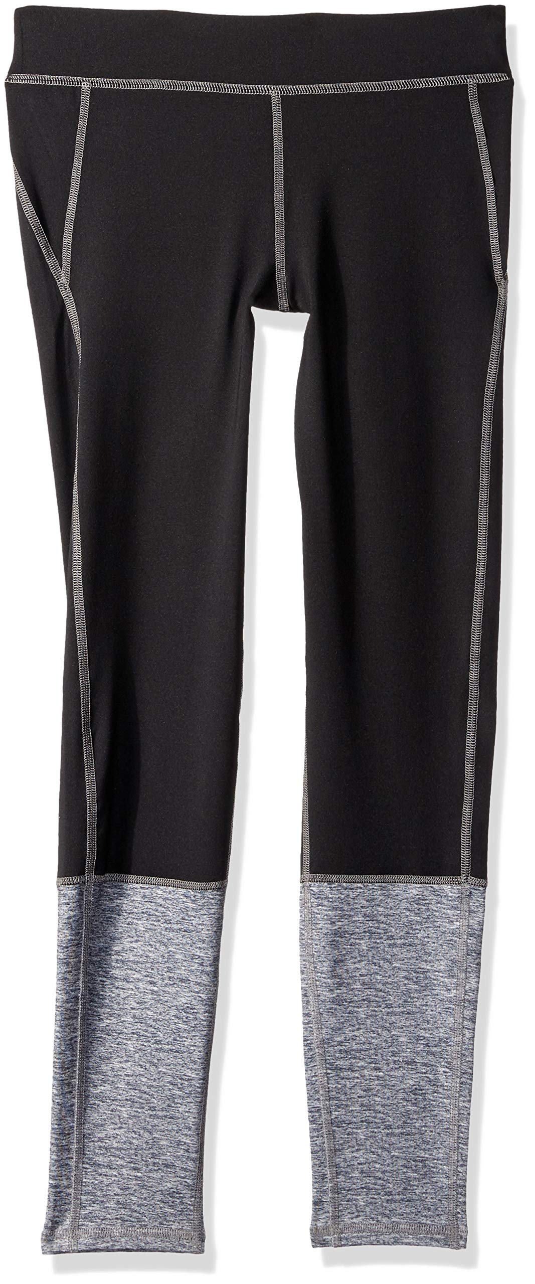 Crazy 8 Big Girls' Active Basic Legging, Black/Grey Pieced, L