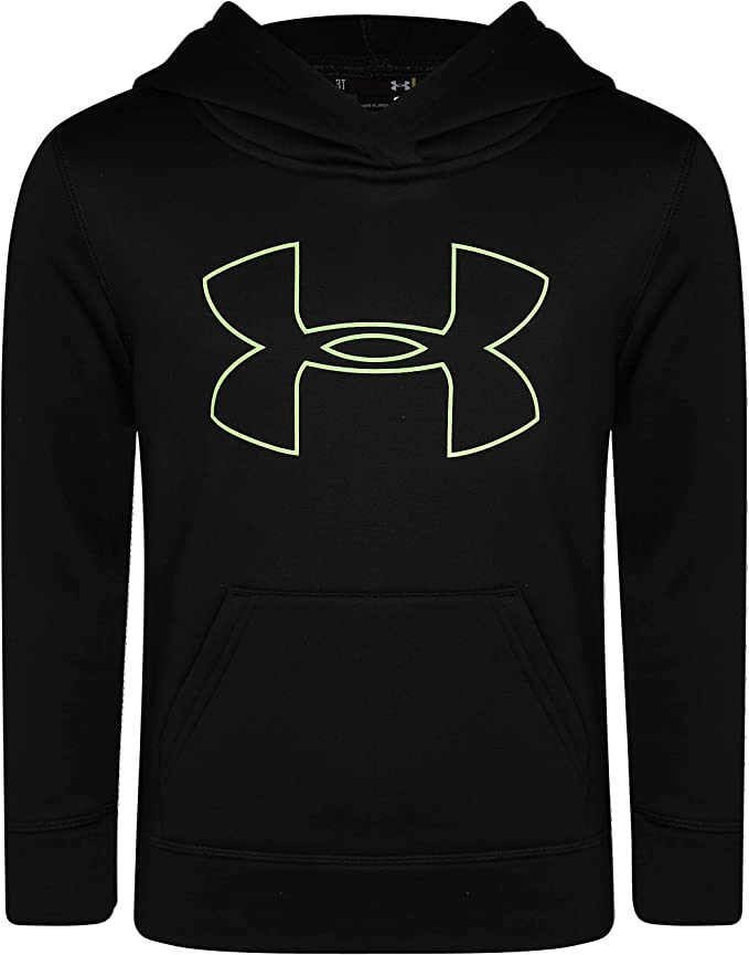 Under Armour Boys' Little Big Logo Hoodie, Black/Limelight H19, 6