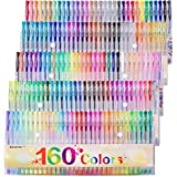 Gel Pens Colors Set, Reaeon 160 Unique Colored Gel Pen for Adults Coloring Books Drawing Art Markers