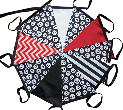 3 mtrs 10 flags pirate skull and crossbones fabric bunting//banner//garland