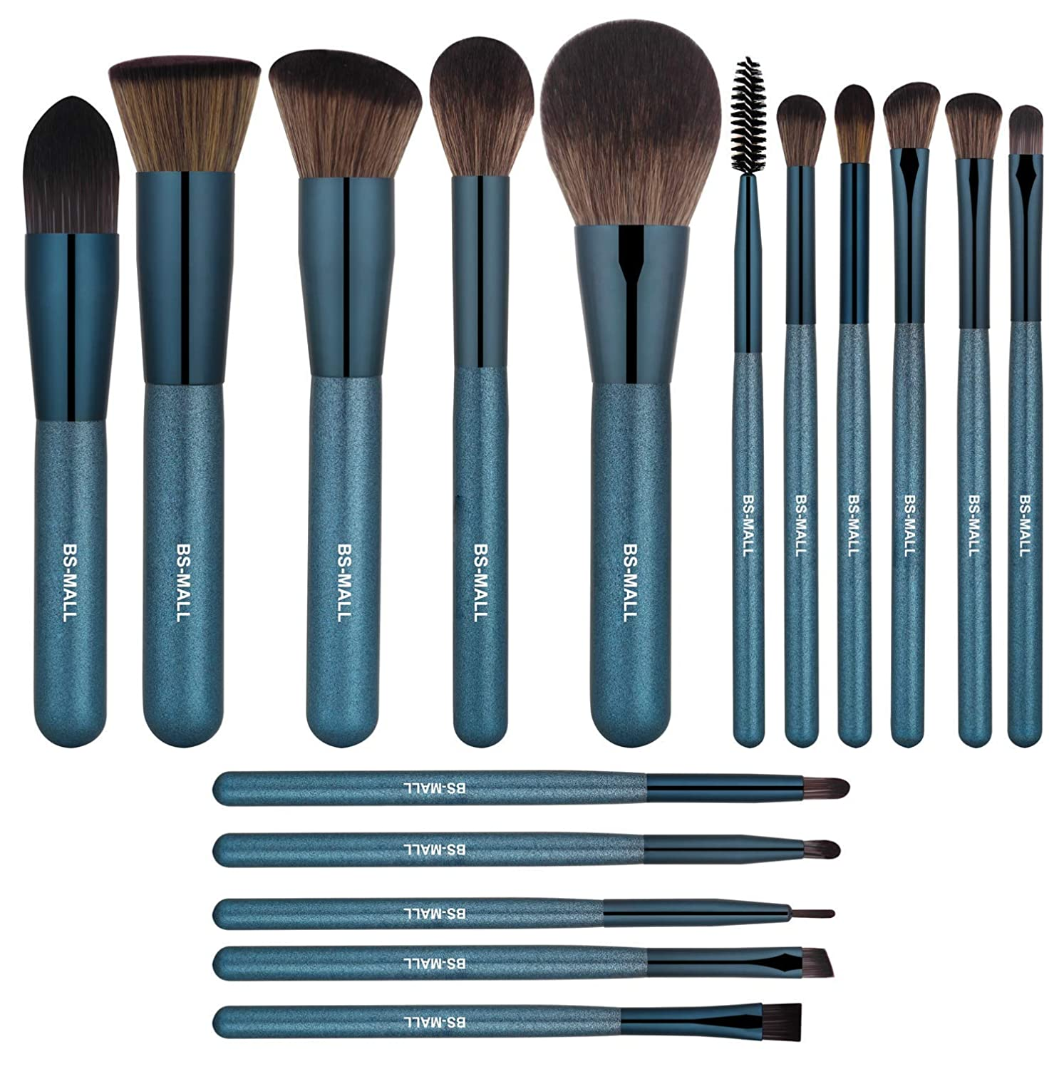BS-MALL Professional 16 Pcs Rose Golden Make up Brushes Set - Cosmetic Eyebrow Shadow Lip Face Brushes Kit - Beauty Blending for Powder & Cream - Bronzer Concealer