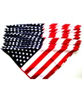 """US American Flag Bandana (22"""" x 22"""") 12 Pieces Wholesale Lot Brand New Party Favors"""