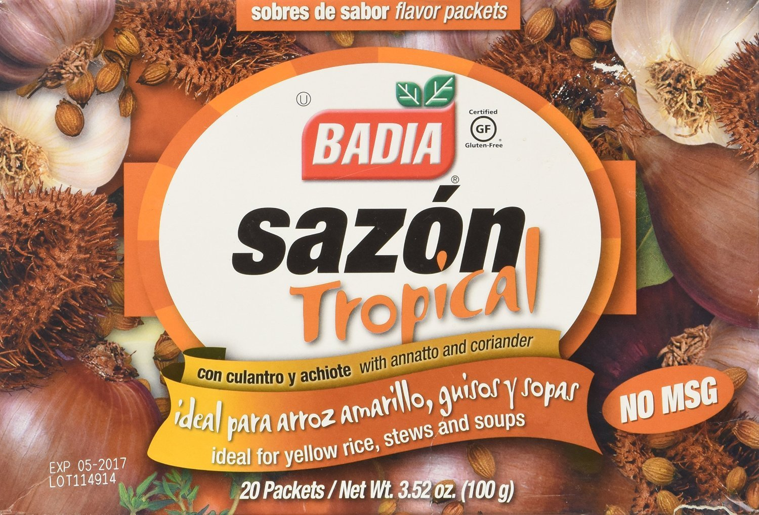 (3 Boxes) Badia, Sazon Tropical Seasoning with Coriander and Annatto 20 packets, 3.52-Ounce, No MSG