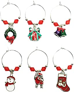 Heaven Sends Christmas Xmas Set 6 Silver Metal Wine Glass Charms CWC002 NEW