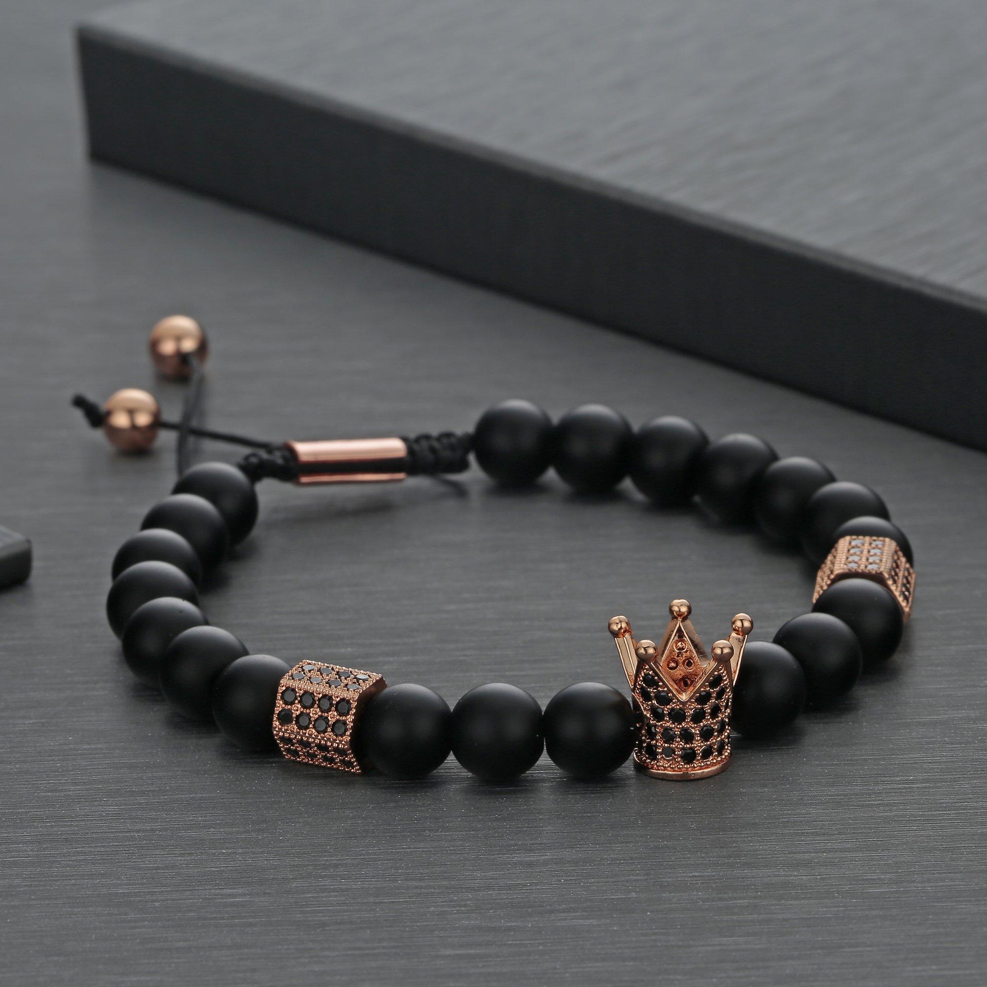 Joya Gift 8mm Black Matte Onyx Beads Rose Gold King Crown Braided Bracelet for Men with CZ Charm