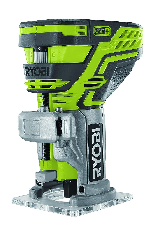 Ryobi Kantenfräse 18 V, LED-Beleuchtung, mit Frästiefen-Einstellung, ohne Akku und Ladegerät – R18TR-0