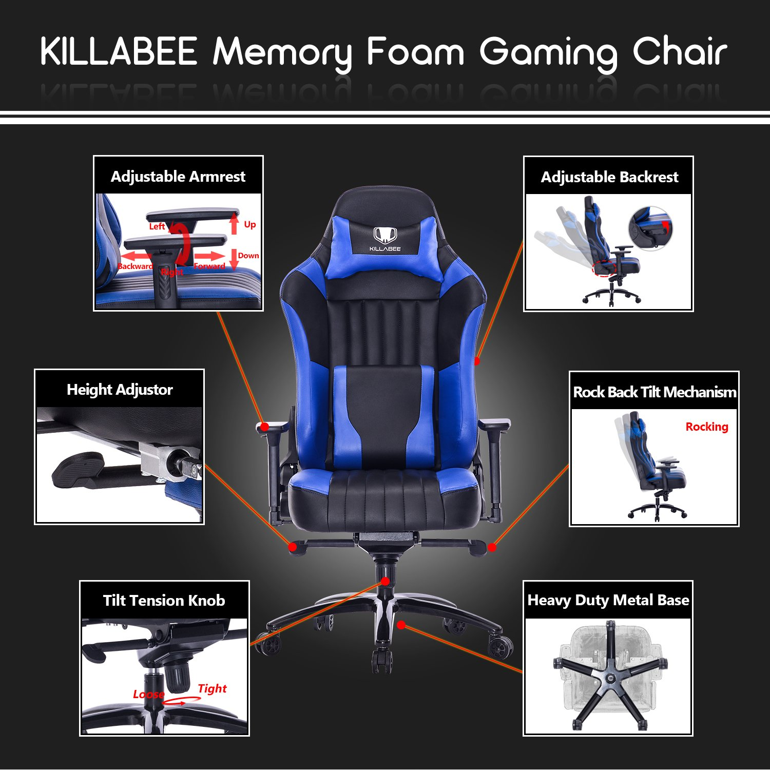 Sensational Killabee Big And Tall 400Lb Memory Foam Gaming Chair Andrewgaddart Wooden Chair Designs For Living Room Andrewgaddartcom