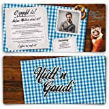 Einladungskarten Zum Geburtstag (40 Stück) Hüttengaudi Mit Eigenem Foto  Blau Oktoberfest