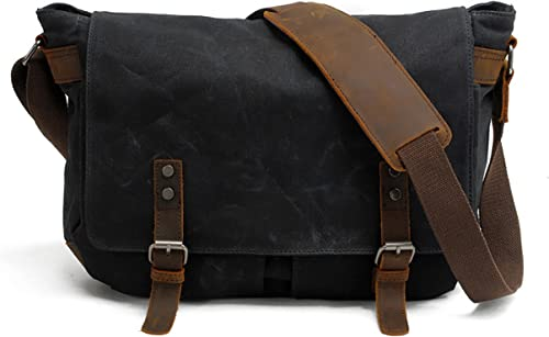 Men's Waxed Canvas Messenger Bag Shoulder Crossbody Military Satchel School Laptop Bag M49_Black