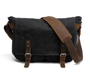 Amazon.com  Men s Waxed Canvas Messenger Bag Shoulder Crossbody Military  Satchel School Laptop Bag (M49 Black)  HC HuaChen 2a83991dc38f1