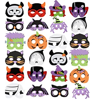 unomor 24 packs foam halloween masks for kids fall birthday party favors dress up costume - Kids Halloween Masks