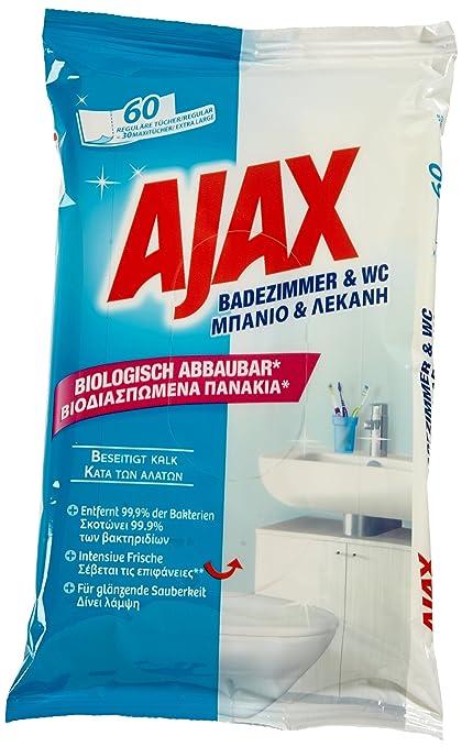 Ajax Toallitas Limpiadoras para baño y WC [5 paquetes de 60]