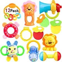 ZesGood 12 Piece Baby Rattle Newborn Toys Fun Cartoon Musical Flash Teether Handle and Rattle Play Toy Gift Set (9pcs Toys + 3pcs Teether)