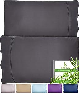 BAMPURE Bamboo Pillowcase Queen Bamboo Pillow Case Queen Size (20x30) 100% Organic Bamboo Large Pillow Cases Cooling Pillowcase Cooling Pillow Cases Cool Pillow Cases Set Pillowcases Charcoal Gray