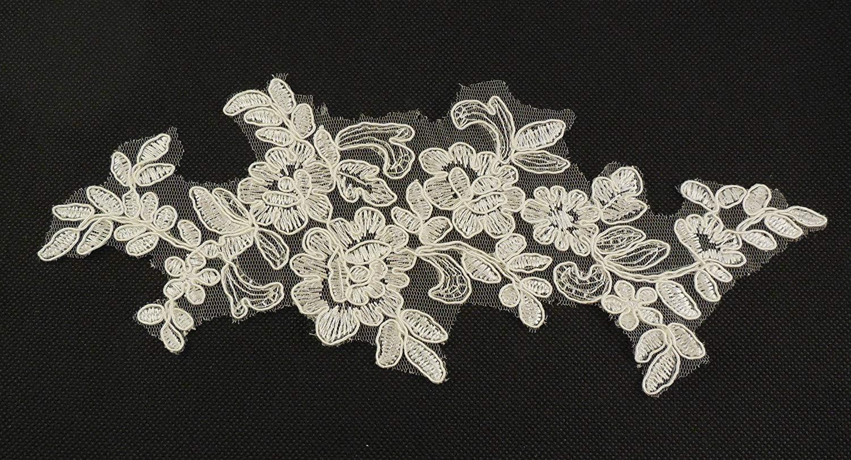/par pi/èce blanc around 26cm x 10cm Applique en tulle blanche ou ivoire dentelle motif floral pour mariage 26/cm x 10/cm/
