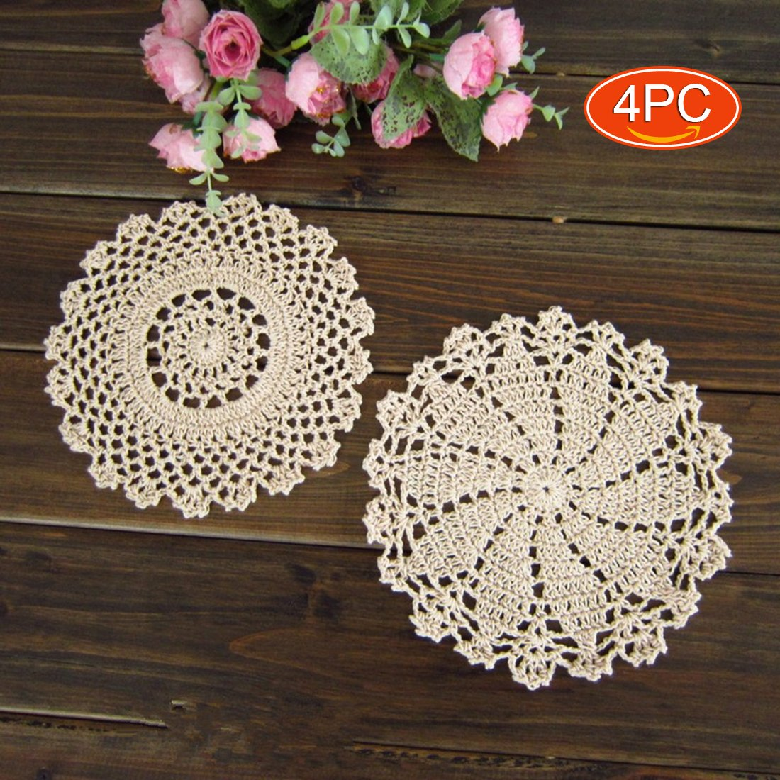 Elesa Miracle 7 Inch 4pc Handmade Round Crochet Cotton Lace Table Placemats Doilies Value Pack, Mix, Beige (4pc-7 Inch Beige) COMINHKPR125742