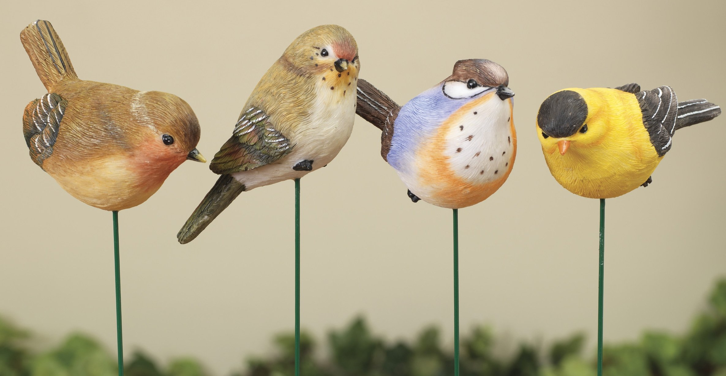 Set of 4 Pretty Resin Birds Outdoor Garden Decoration Plant Stakes 13.4''