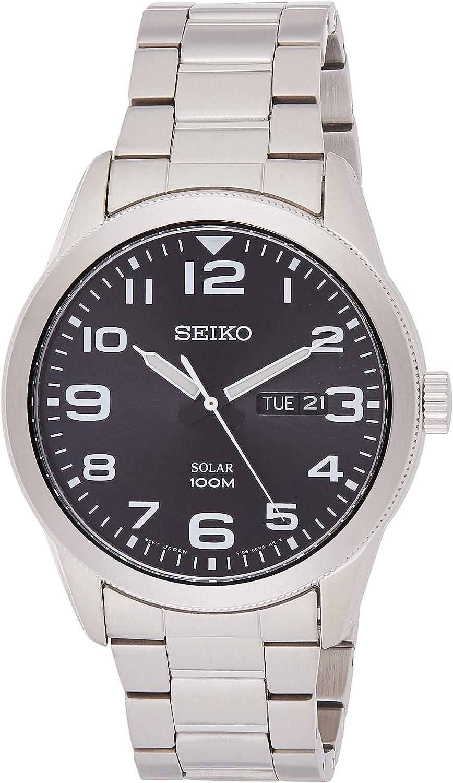 Seiko SNE471P1 - Reloj analógico de energía solar para hombre, con correa en acero inoxidable