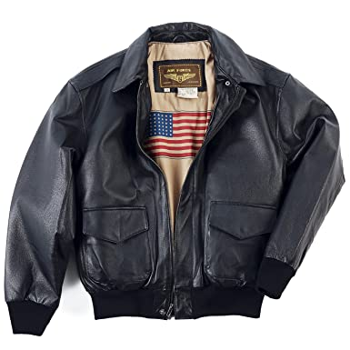 1d158c3b21a745 Landing Leathers Men's Air Force A-2 Leather Flight Bomber Jacket, Black, X