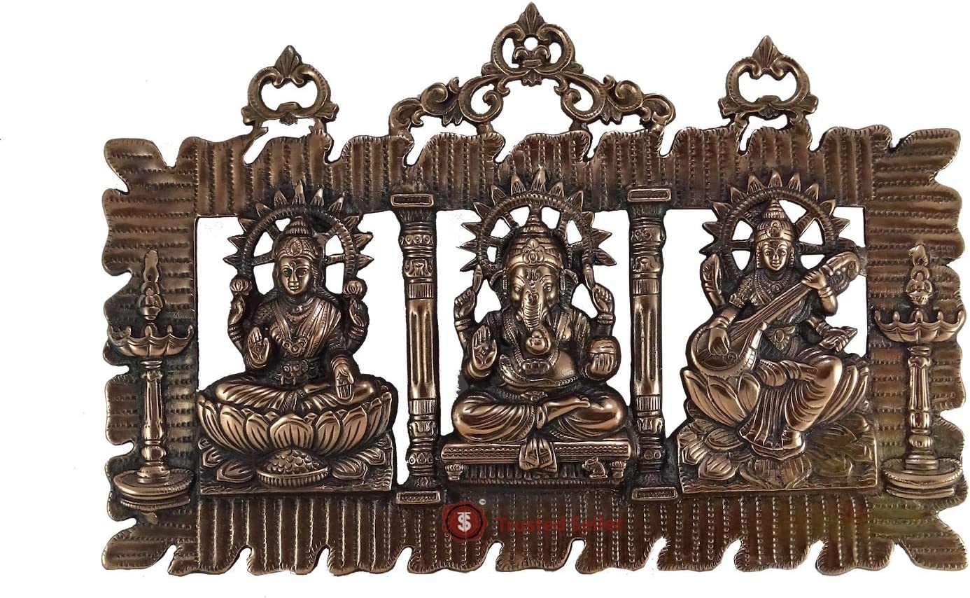 Trusted Seller 12″ X 18″ BIG Metal Copper Plated Lakshmi Saraswati Ganesha Ganesh Statue Handmade Wall Hanging