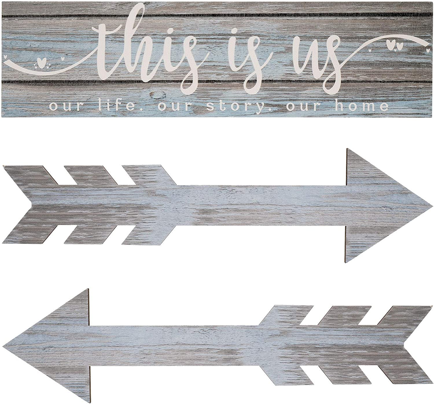 3 Pieces This is Us Wall Decor Rustic Wood Signs Family Quotes Wall Sign Home Decor Wooden Arrow Hanging Signs Wood Grain Background Wall Decor for Home Bedroom Living Room, 15 x 4 x 0.2 Inch (Blue)