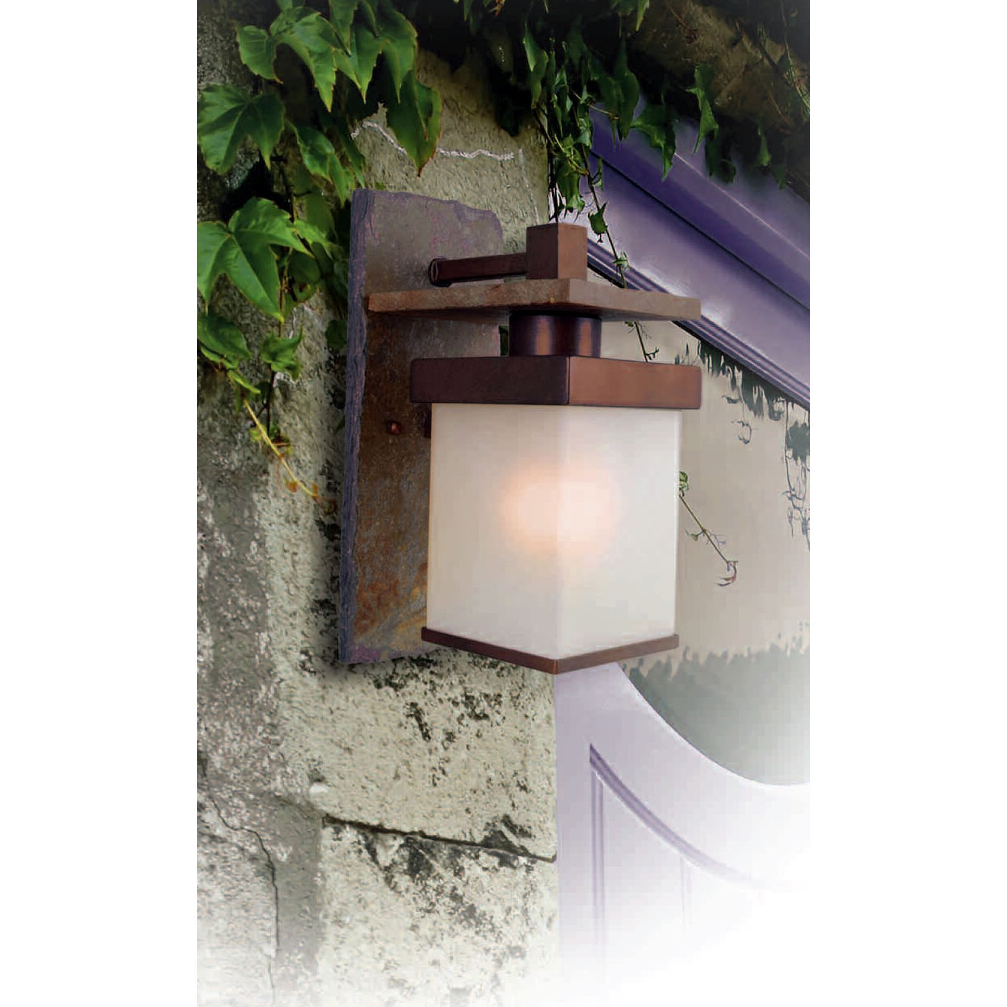 Kenroy Home 70283COP Boulder Medium Wall Lantern, Natural Slate With Copper by Kenroy Home