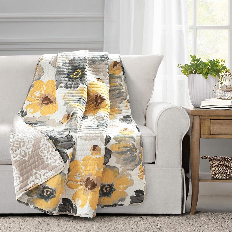 "Lush Decor Leah Throw Blanket, 60"" x 50"", Yellow and Gray, Yellow & Gray"