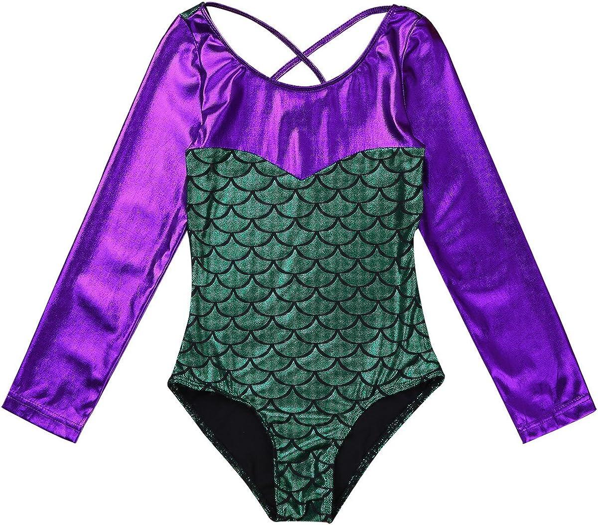 dPois Enfant Fille Sir/ène Justaucorps de Ballet Danse Classique Gymnastique Brillant Body Mermaid Leotard /à Manches Longues Danseuse Collant de Yoga Dancewear 5-10 Ans