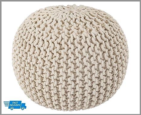 Knitted Pouffe EXQUIZIT HOME - Taburete de punto redondo ...