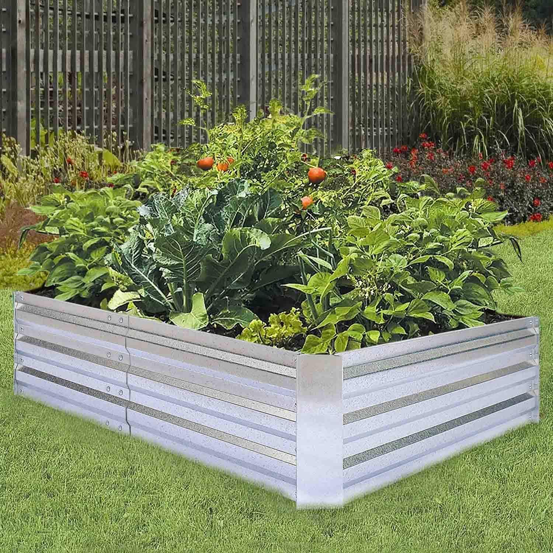 Raised Garden Kits Patio Lawn Garden Galvanized Raised Garden Beds For Vegetables Large Metal Planter Box Steel Kit Flower Herb 6x3x1ft