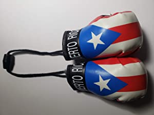 Rainbow Trading Puerto RICO A Pair of Mini Boxing Gloves Car Rear-View Mirror Office Home Decor