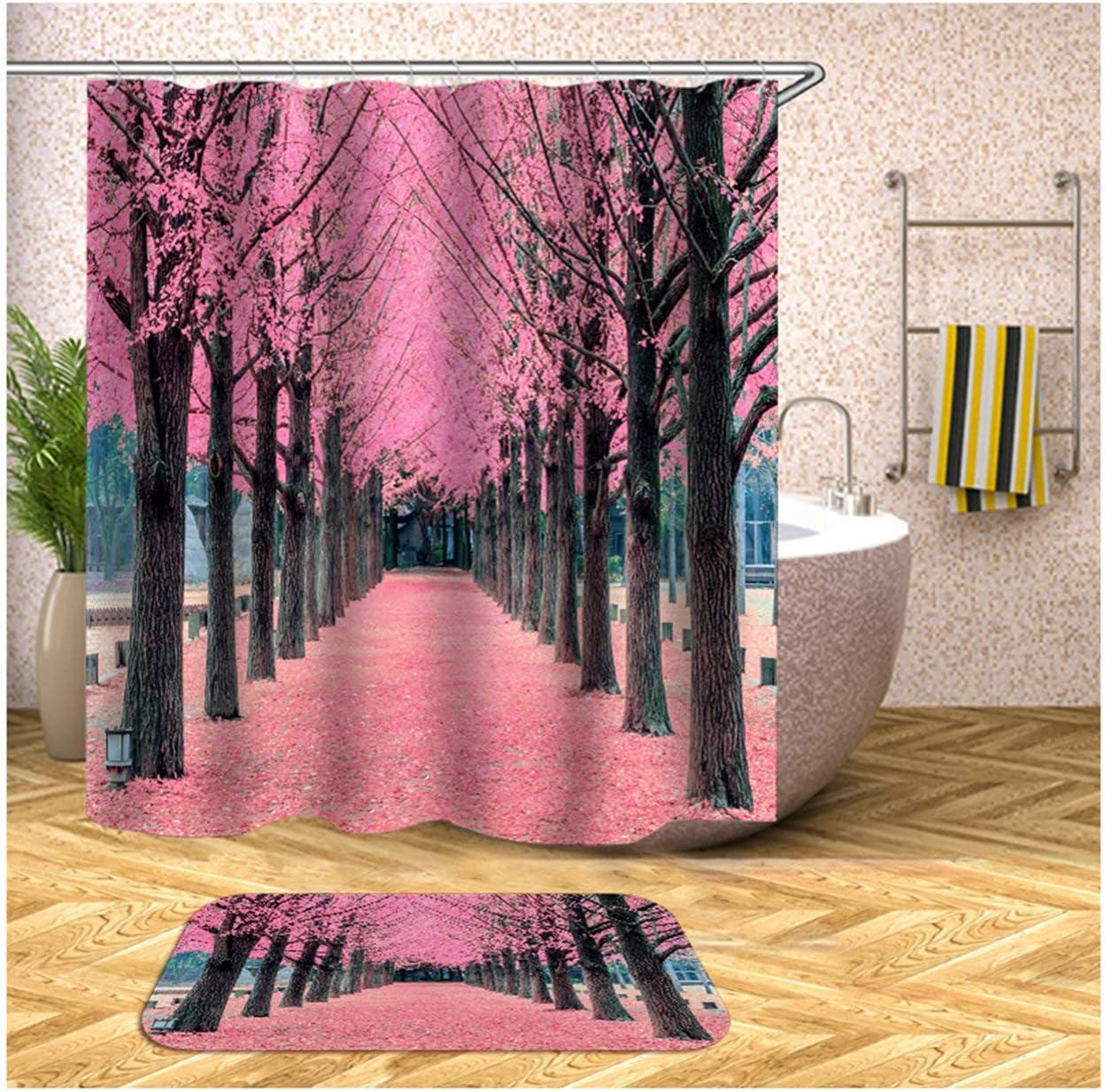 Epinki 2PCS Conjunto Cortina de baño Colorido Arboles Flores Cortina Ducha con 12 Anillos Cortina para baño 165x180CM