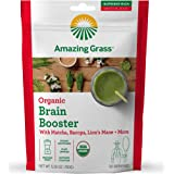 Amazing Grass Brain Booster: Greens Powder with Lions Mane, Matcha, Bacopa & Plant Based Caffeine, Smoothie Booster, 30…