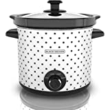BLACK+DECKER 4 Quart Dial Control Slow Cooker with Built in Lid Holder, Polka-Dot Black/White, SC1004D