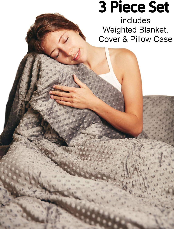 SnugCosy Manta Ponderada para Adultos y Adolescentes, Mantas Calientes Pesadas 7 kg. 3 Piezas 135 cm x 200 cm para Autismo, TDAH, Ansiedad, Insomnio
