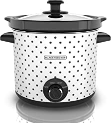 BLACK+DECKER Slow Cooker, 4 Quart, Black/White, SC1004D
