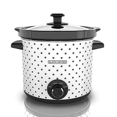 BLACK+DECKER SC1004D Slow Cooker, 4 Quart, Black/White, 1