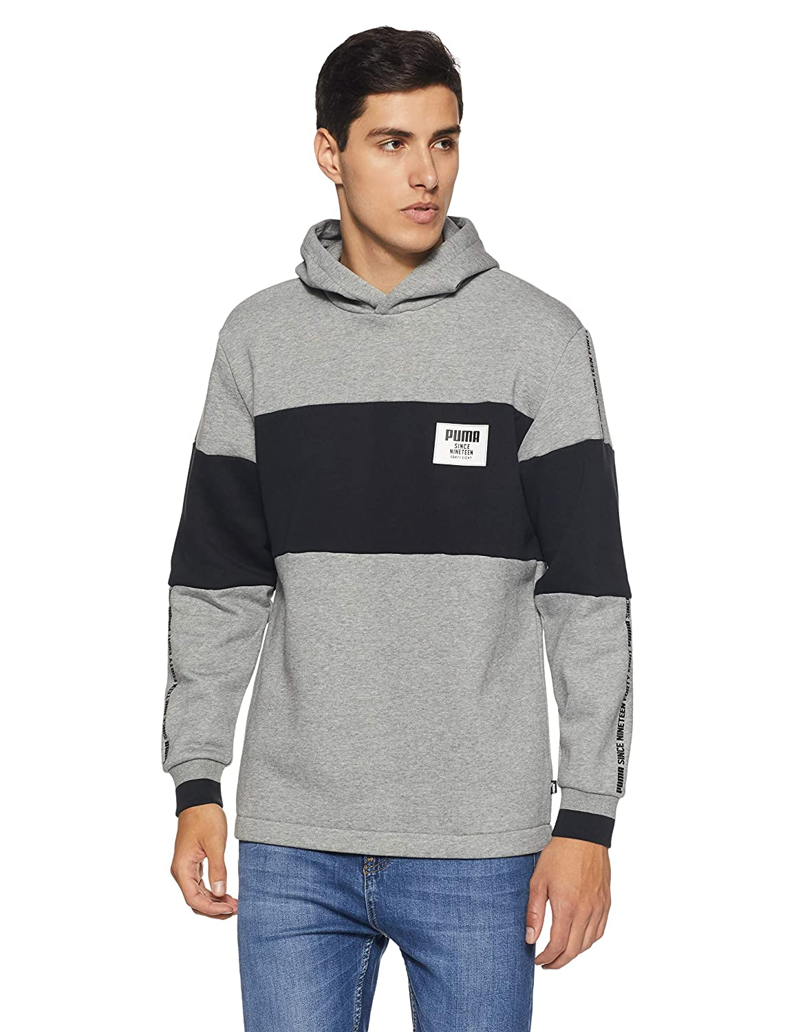 PUMA Rebel Block Hoody FL Sweatshirt, Hombre, Medium Gray Heather, XL