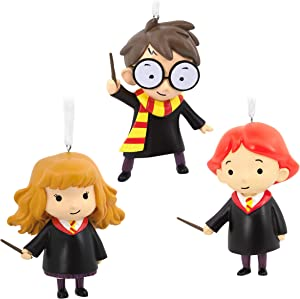 Hallmark Christmas Ornaments, Harry Potter and Friends With Wands, Set of 3