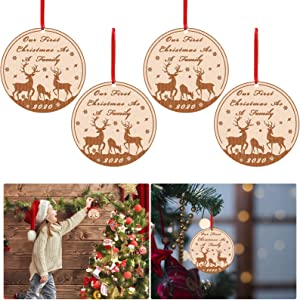 4 Pcs 2020 Our First Christmas as A Family Ornaments- Round First Christmas Wood Carving Disk Ornaments with Reindeer Pattern Xmas Tree Hanging Engraved Crafts for Xmas Holiday Party Wedding Decor