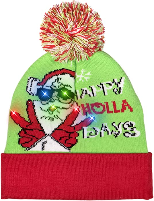 10ac1c96ccb Windy City Novelties LED Light-up Knitted Ugly Sweater Holiday Xmas  Christmas Beanie - 3