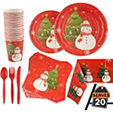141 Piece Christmas Party Set Including Plates, Cups, Spoons, Forks, Knives,