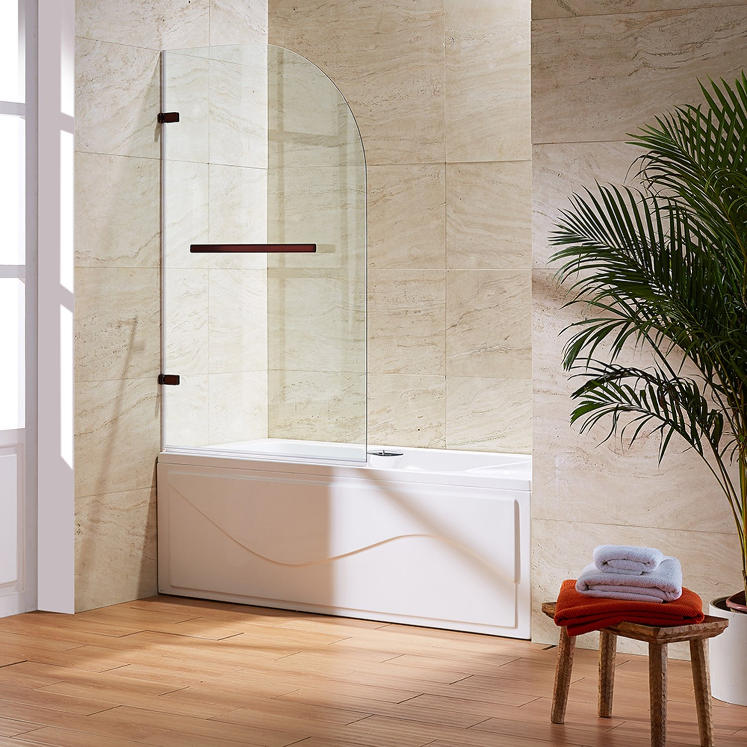 VIGO Orion 34-in. Curved Bathtub Door with .3125-in. Clear Glass and Oil Rubbed Bronze Hardware