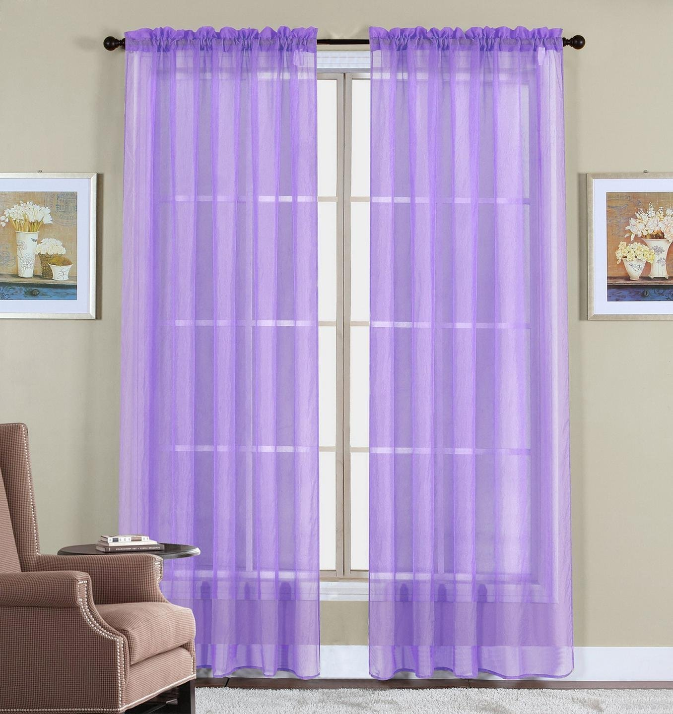 Window Elegance Curtains/drape/panels/treatment, Lavender purple