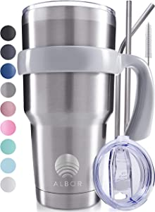 ALBOR 30 Oz Stainless Steel Tumbler 30 Oz Insulated Tumbler With Straw 30oz Stainless Steel Tumbler With Straw 30oz Tumbler With Handle Metal Tumbler With Straw Insulated Cup With Straw