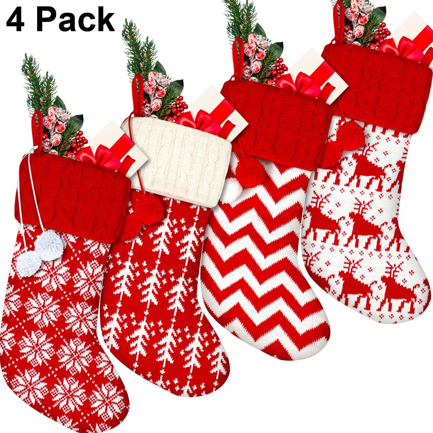 4 Pieces Knit Christmas Stockings Red and White Christmas Hanging Stockings Snowflake Tree Reindeer Stripe Stockings with Plush Balls for Xmas Holidays Decorations