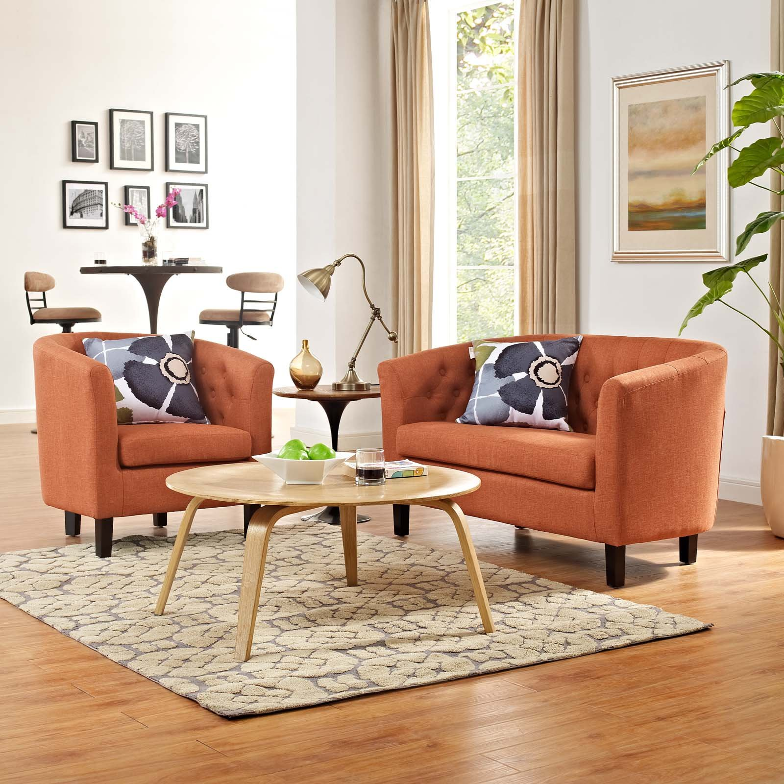 Modway Prospect Loveseat And Armchair Set, Orange by Modway